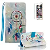 iPhone 6S Plus/6 Plus Case [with Free Screen Protector].Funyye Elegant Premium Folio PU Leather Wallet Magnetic Flip Cover with [Wrist Strap] and [Colorful Printing Painting] Stand Function Book Type Stylish Full Protection Holster Case Cover for iPhone 6/6S Plus (5.5 Inch)-Dreamcatcher