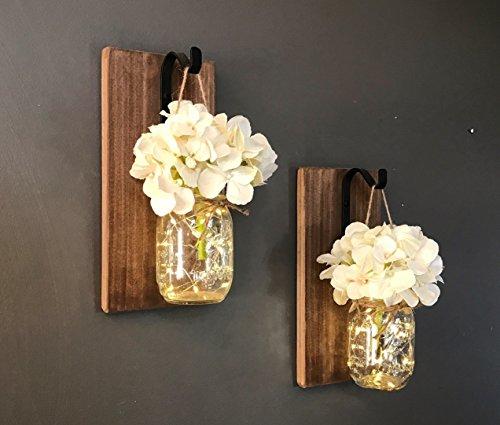 Sconce Standard Wood (Set of 2 Mason Jar Sconces, Hanging Sconce, Mason Jar Decor, Wall Sconce, Home Decor)