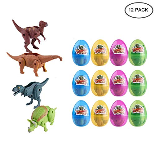 EVERMARKET Jumbo Dinosaur Deformation Easter Eggs with Toys Inside for Kids Boys Girls Easter Festival Novelty Gifts Easter Basket Stuffers Fillers (12 Pcs) ()