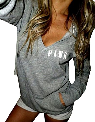 YLnini Womens Hoodie Long Sleeve Sweatshirt XL Grey