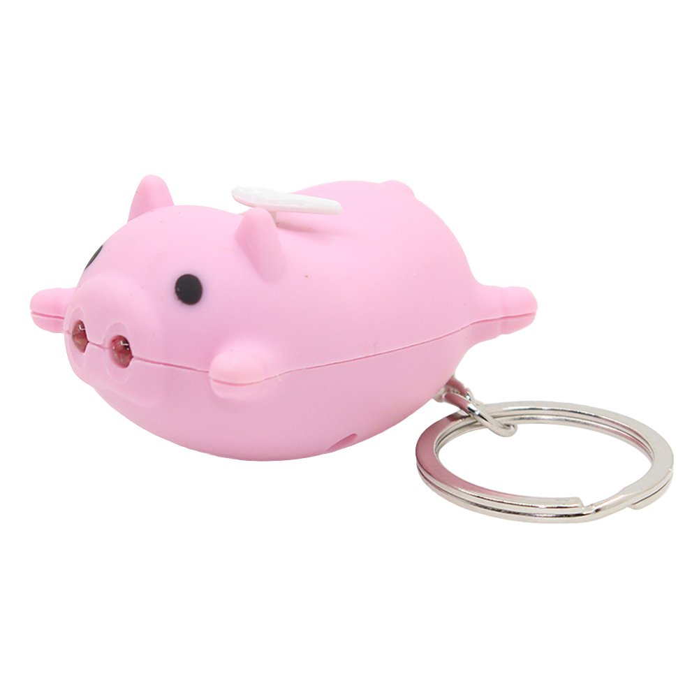 Kawaii Pig Style Key Chain with LED Light Sound,Cute Animal Keyring Car Bag Pendant Fun Gift for Kids - Pink/Balck/Green/Yellow Slendima