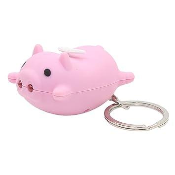 Llavero estilo cerdo Kawaii con luz LED de sonido, bonito ...