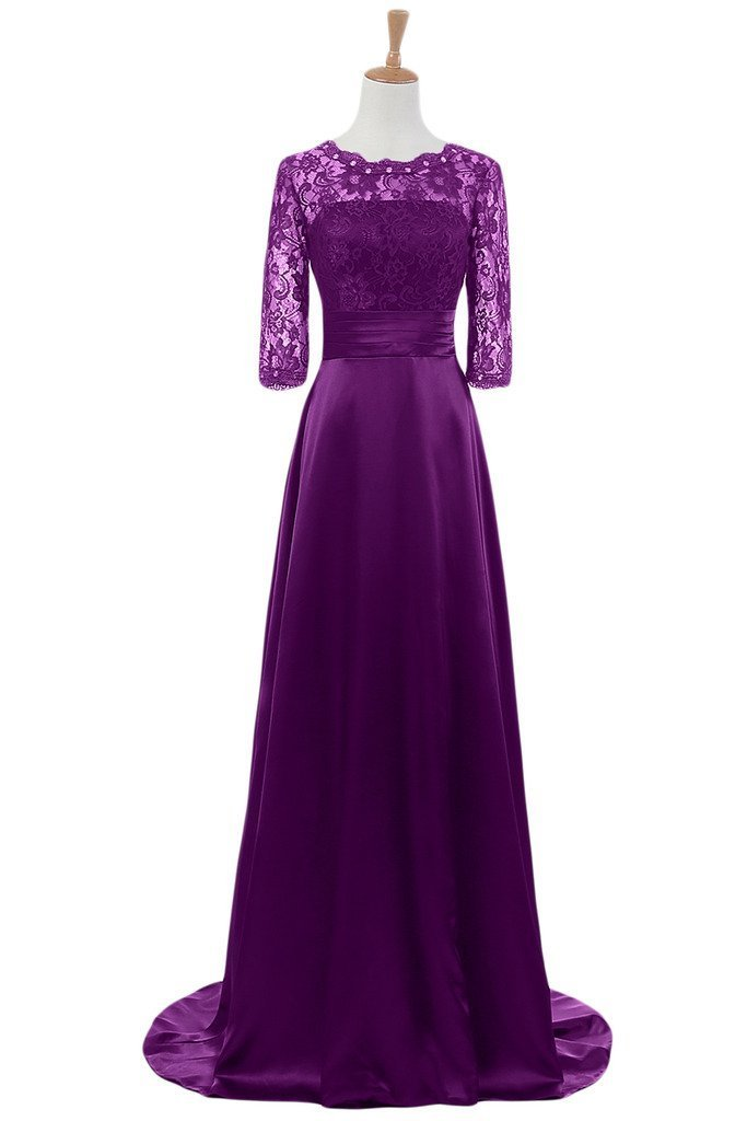 Snowskite Women's Half Sleeves Lace Satin Mother of the Bride Groom Dress Purple 20