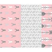 Deer Fabric - Wholecoth Quilt - OneRepeat - Meadow Sunrise - Pink Deer Arrow - Baby Girl Woodland Quilt by sugarpinedesign - Printed on Minky Fabric by the Yard