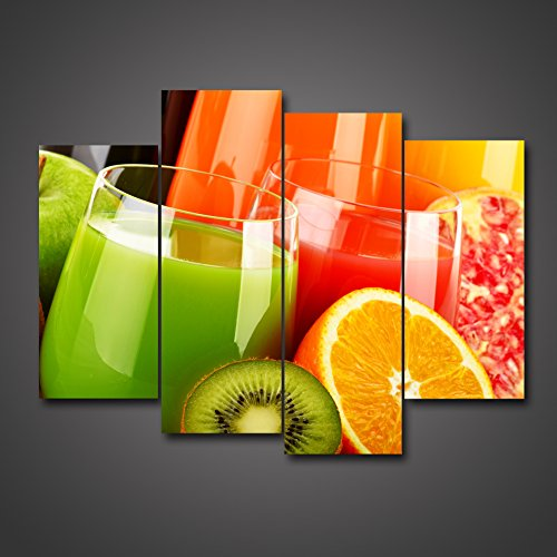 4 Pieces Juice Glass Fulled With Pomegranate Orange Kiwi Fruit Pictures Digital Painting Photo Giclee Print Dining Room Large Size Home Decoration Hanging Wall Decoration Ready To Hang by uLinked Art - Lucky Elephant Art Glass
