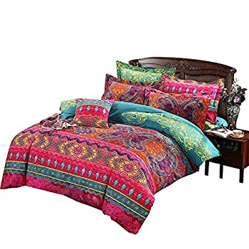Image of Abreeze Cotton Bohemian Style Bedding Sets Modern Bedding Set Flat Sheet California King Size Home and Kitchen