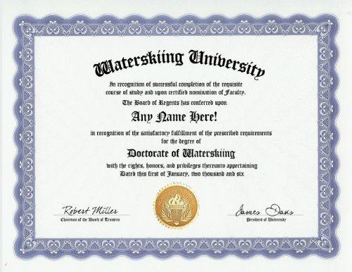 Waterskiing Waterski Degree: Custom Gag Diploma Doctorate Certificate (Funny Customized Joke Gift - Novelty Item) ()