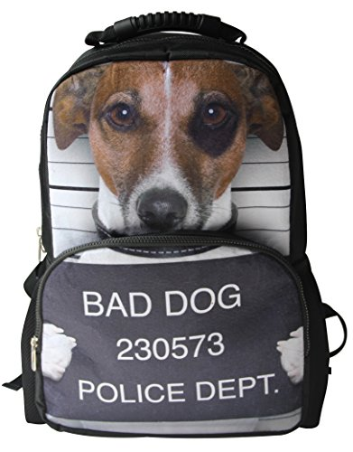 Animal FaceTM 3D Animals Jack Russell Puppy Backpack 3D Deep Stereographic Felt Fabric