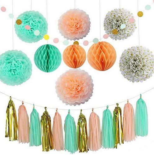 Kaputar Decoration Kit (22 Pieces) - Coral, Green & Gold - Tissue Paper Decor w/Pom Poms, Balls, Tassels, Garland - Parties, Bridal Showers, Showers, Bridal, ding   Model WDDNG -1265 ()