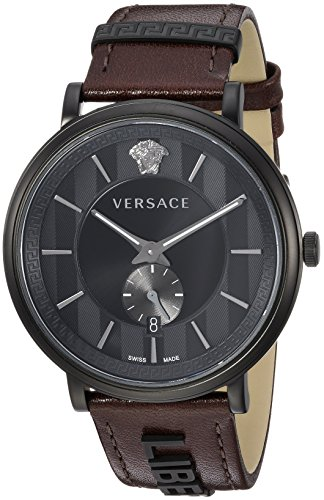 Versace Men's 'The Manifesto Edition' Quartz Stainless Steel and Leather Casual Watch, Color:Brown (Model: VBQ040017)