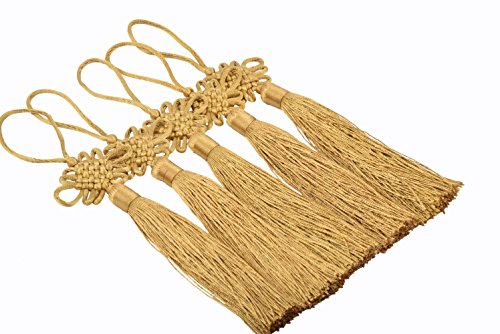 KONMAY 10pcs Handmade Silky Large Size(6.4'') Tassels with Satin Silk Made Chinese Knots (Goldenrod) ()