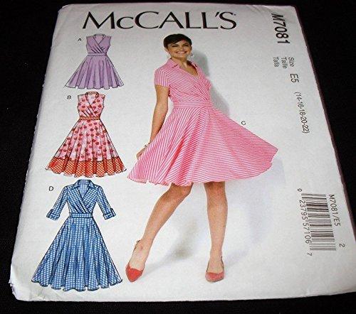 McCalls 7081 Misses Rockabilly Twirl Retro Surplice Dress 14-22 Sewing Pattern ##books_n_more