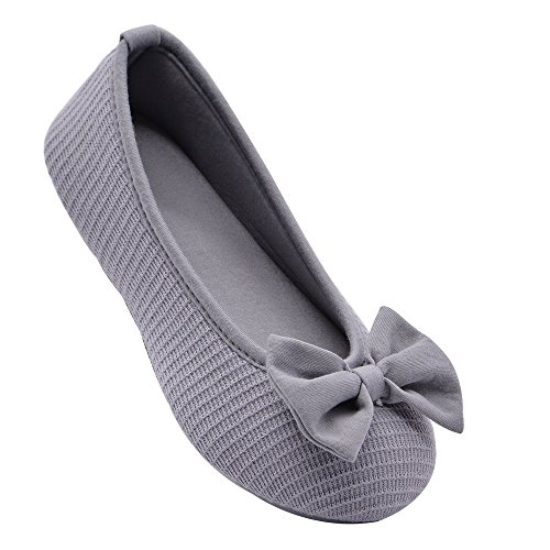 Wishcotton Comfy Bamboo Cotton Kintted Memory Foam Bow Ballerina Style Slippers w/Indoor Outdoor Rubber Sole