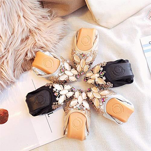nbsp; la nbsp; de FLYRCX de conducción Embarazadas Plegable Zapatillas Zapatos Planos Zapatos de Zapatos Mujeres nbsp;Las de Mujeres Silver Ballet Ocasionales Trabajo Las Moda Zapatos portátiles de trZZaqI