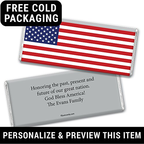 Patriotic Candy Personalized American Flag Hershey's Chocolate Bars (12 Count)