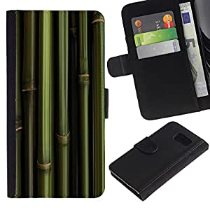KingStore / Leather Etui en cuir / Samsung Galaxy S6 / Bambú verde Papel de pared Panda Foof