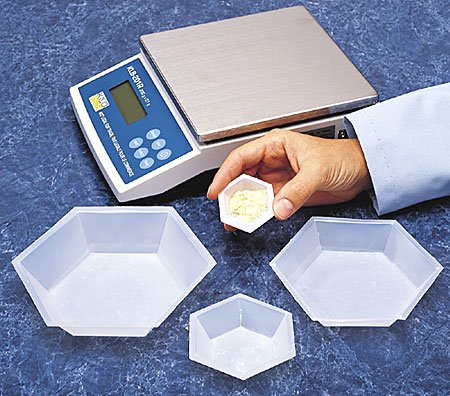Plastic Hexagonal Weigh Boats Medium Dish 100pk by Scientific Equipment of Houston