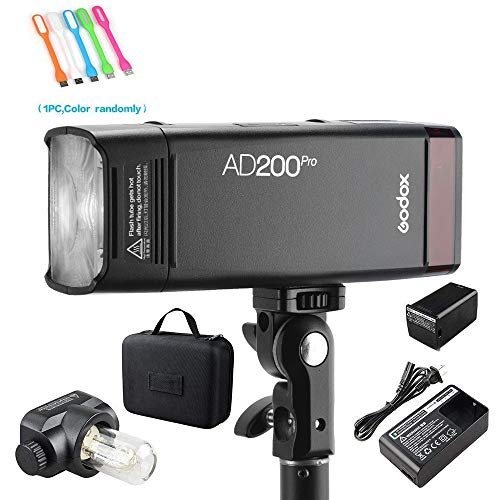 Godox AD200Pro 200ws 2.4G TTL Speedlite Flash Strobe 1/8000 HSS Monolight,500 Full Power Flashes, 2900mAh Battery,0.01-2.1s Recycling, Bare Bulb/Speedlite Fresnel Flash Head (AD200 Upgrade Version)