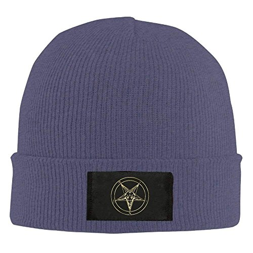 100 Pewter Beanie Hats Unisex Acrylic Pentacle Navy Navy Hat Head Goat Gold Satanic Baphomet Inverted Knit Soft Daily Warm zH7tP