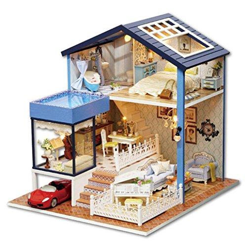 DIY Dollhouse  Sacow Handmade Miniature Dollhouse 3D Wooden House with Furniture Kit Lightの商品画像