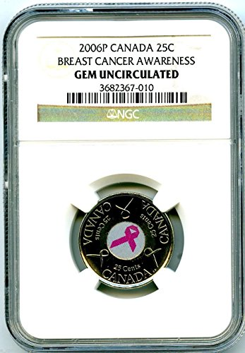 2006 P Canada Susan G Komen Cure For Breast Cancer PINK RIBBON Coin Brown Label Quarter Gem Uncirculated (Pink Ribbon Coin)