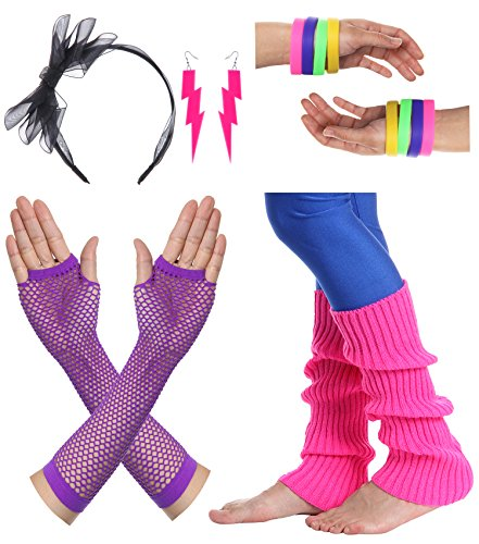 [JustinCostume Women's 80s Outfit Accessories Neon Earrings Leg Warmers Gloves, E] (80s Earrings)