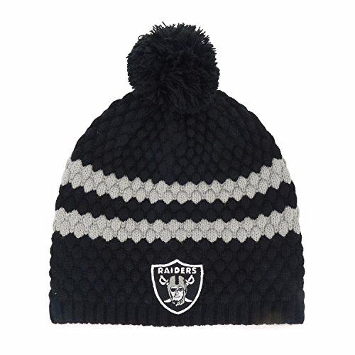 NFL Oakland Raiders Women's Winona OTS Beanie Knit Cap with Pom, Black, Women's (Raider Hats For Women)