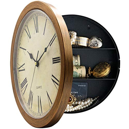 Plastic Wall Clock with Hidden Compartment,Brown,10""