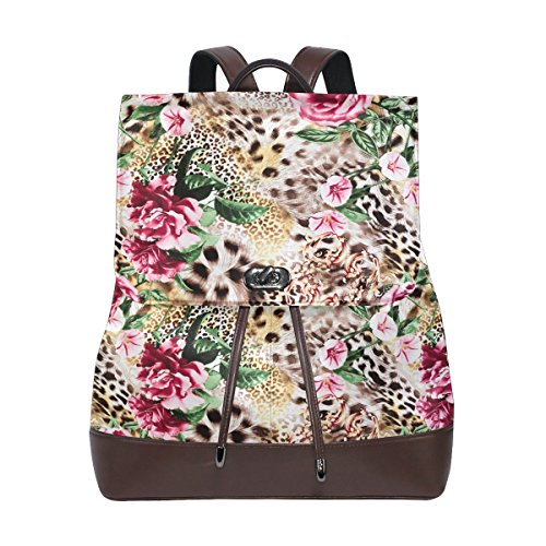 (KUWT Striped Leopard Skin and Flower PU Leather Backpack Photo Custom Shoulder Bag School College Book Bag Casual Daypacks Diaper Bag for Women and Girl)