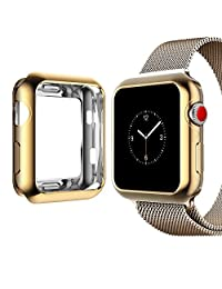 Apple Watch Case,top4cus Scratch-resistant Soft Silicone Lightweight Plated Protector Case for Apple Watch Series 3,2,1 Sport and Edtion (Gold, 42mm)