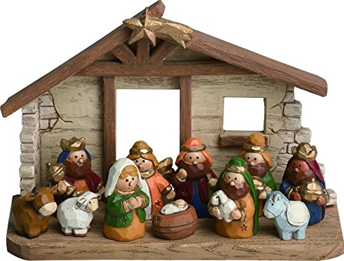 Miniature Kids Nativity Scene with Creche, Set of 12 Rearrangeable Figures ()