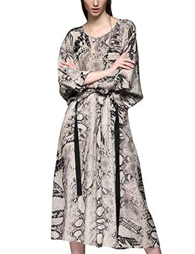 Uaneo Women's Snake-Print 3/4 Sleeves Crewneck Ankle Length Maxi Long Loose Shirt Dress (Medium, Beige)