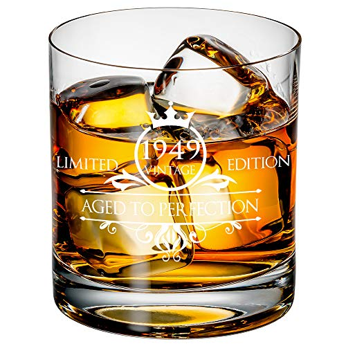 1949 70th Birthday Whiskey Glass for Men and Women - Vintage Funny Anniversary Gift Idea for Him, Her, Husband, Wife – 70 Year Old Gifts for Mom, Dad - Party Favors, Decorations - 11 oz