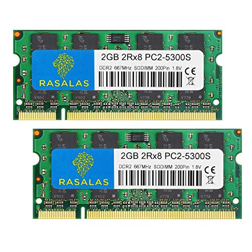 - PC2-5300,4GB Kit (2X 2gb) DDR2 667 Ram Laptop 667mhz DDR2 PC2-5300,Rasalas DDR2 Sodimm pc2-5300s 1.8v CL5 Non-ECC Unbuffered Notebook Laptop Memory Modules