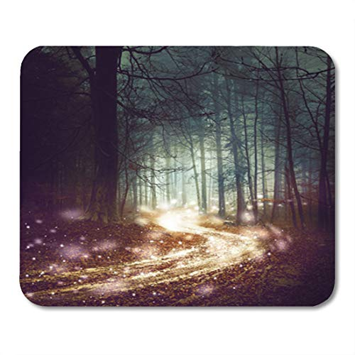(Semtomn Gaming Mouse Pad Fantasy Forest Firefly Lights Magic Colored Woodland Fairy Tale 9.5