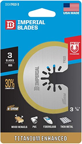 Imperial Blades IBOAT410-3 ONE FIT 3-1/8'' Titanium Enhanced Segmented Oscillating Saw Blade, 3PK by Imperial Blades (Image #1)