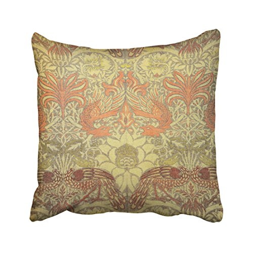 (Musesh William Morris Peacock and Dragon Pattern Cushions Case Throw Pillow Cover for Sofa Home Decorative Pillowslip Gift Ideas Household Pillowcase Zippered Pillow Covers 18X18Inch)