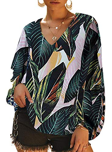 Dokotoo Womens Casual Soft Fashion Summer Autumn Leaves Printed Loose Shirts Balloon Long Sleeve V-Neck Plain Blouses and Tops for Jeans Green Medium