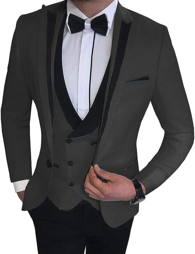 3 PCs Peak Lapel Suits for Men Slim Fit Blazer Prom Grooms Wedding Tuxedo Custom Made Black