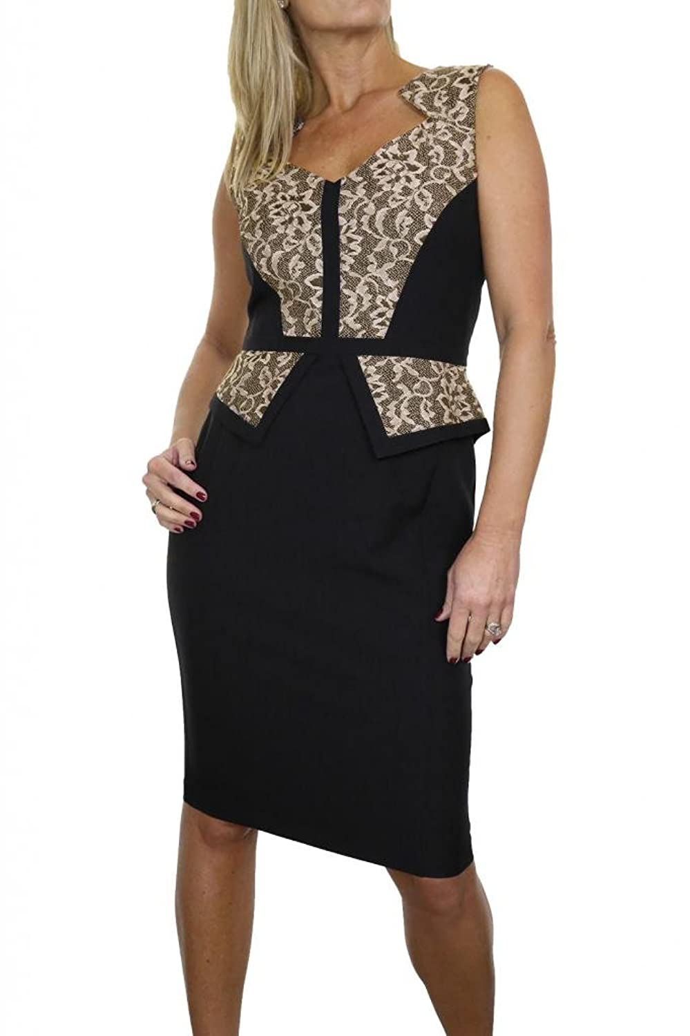 ICE (3994-1) Smart Washable Fully Lined Peplum Dress With Lace Black & Nude