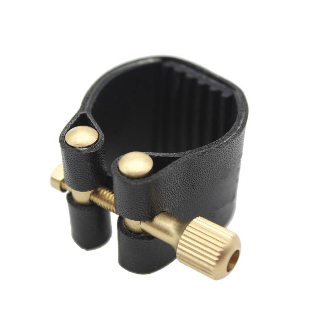 Timiy Artificial Leather Ligature Fastener for Alto Sax Saxophone Rubber Mouthpiece Black(ALTO)
