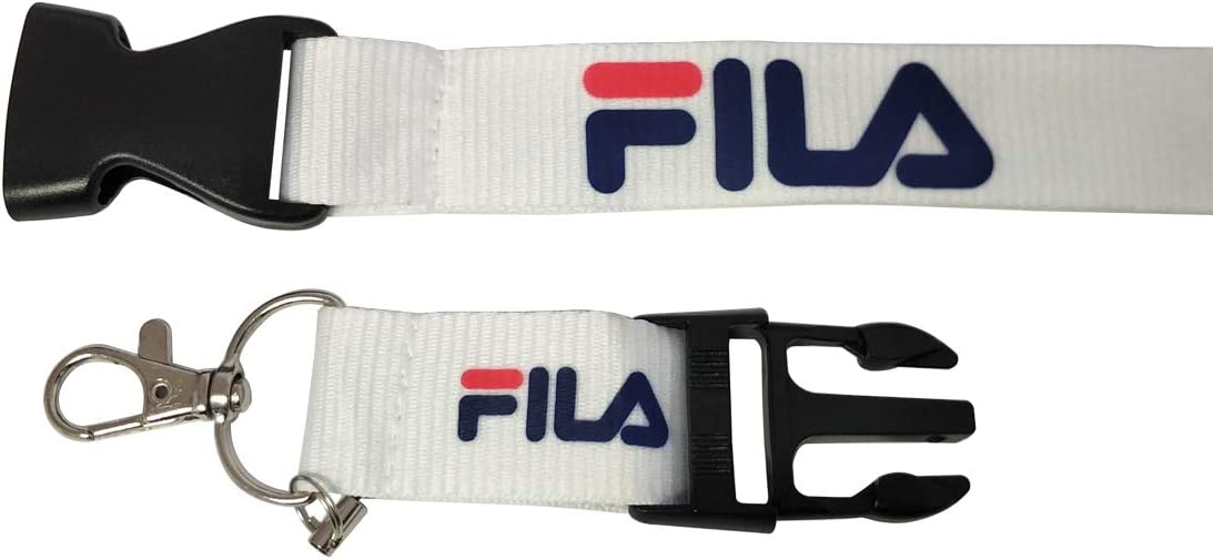 FILA Hanitek 1pcs Neck Lanyard Key Chain Clasp Hook Buckle White for Sport Fitness Gym Game Playtime Car Motorcycle House Office ID Fashion Accessories
