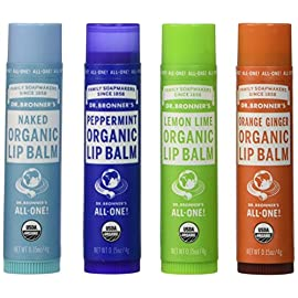 Dr. Bronner's - Organic Lip Balm (4-Pack Variety Peppermint, Orange Ginger, Naked, Lemon Lime) - Made with Organic Beeswax and Avocado Oil, For Dry Lips, Hands, Chin or Cheeks 1 THIS VARIETY PACK INCLUDES: Dr. Bronner's Organic Lip Balms are made with organic beeswax & organic avocado oil. Variety pack includes 4 scents: Naked Unscented, Peppermint, Lemon Lime & Orange Ginger (.15 ounce per lip balm). ONLY THE PUREST ESSENTIAL OILS and INGREDIENTS: Dr. Bronner's is committed to providing the purest ingredients for our customers. That's why only the finest essential oils are used for fragrance. Lip protection with no synthetic ingredients—none! OUR LIP BALM IS CRUELTY-FREE and NEVER TESTED ON ANIMALS: Dr. Bronner's products and ingredients are never tested on animals so they qualify for the Leaping Bunny logo. Finally, a lip balm you can totally get behind!