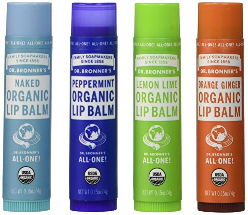 Dr. Bronner's Organic Lip Balm - (Naked, Peppermint, Lemon Lime, Orange Ginger) by Dr. Bronner's 1 4-Flavor Value Pack Peppermint, Naked, Lemon Lime, Orange Ginger - 0.15 oz / each Certified organic to USDA National Organic Program standards