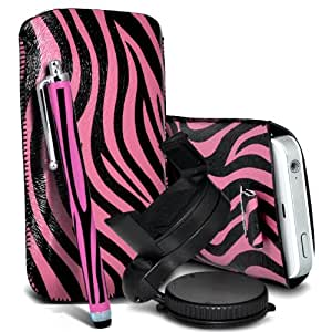 Nokia Lumia 520 Protección Premium de Zebra PU tracción Piel Tab Slip Cord En cubierta de bolsa Pocket Skin rápida Con Matching Large Stylus pen & 360 Sostenedor giratorio del parabrisas del coche Cuna Rosa y Negro por Spyrox
