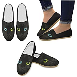 InterestPrint Cute muzzle of a black cat with eyes Loafers Casual Shoes for Men Women
