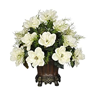 House of Silk Flowers Artificial Cream Magnolia with Asparagus Fern in Brown Traditional Urn 24
