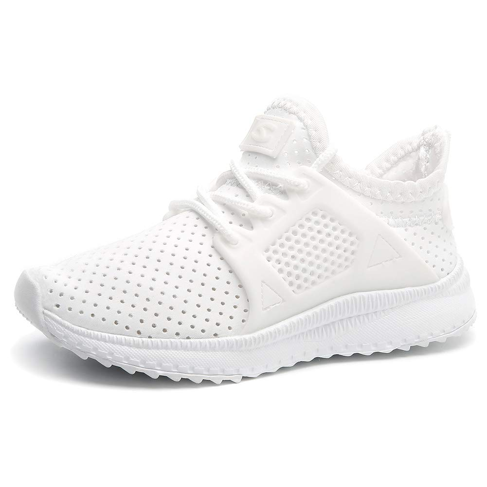 GUBARUN Kids Running Shoes Boys and Girls Lightweight Comfortable Athletic Sneakers(White5,9)