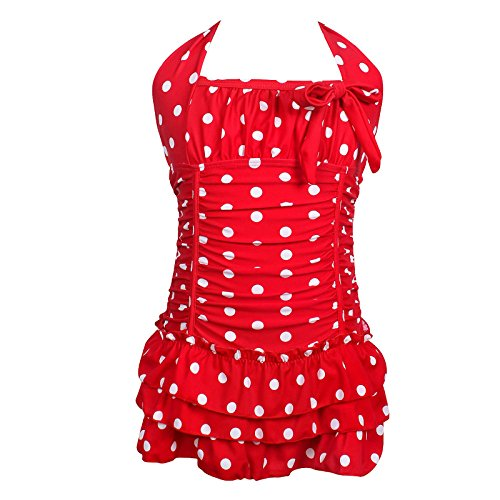 qyqkfly Girls Polka Dot Bathing Suit Adjustable One Piece 4Y-16Y Swimsuit -