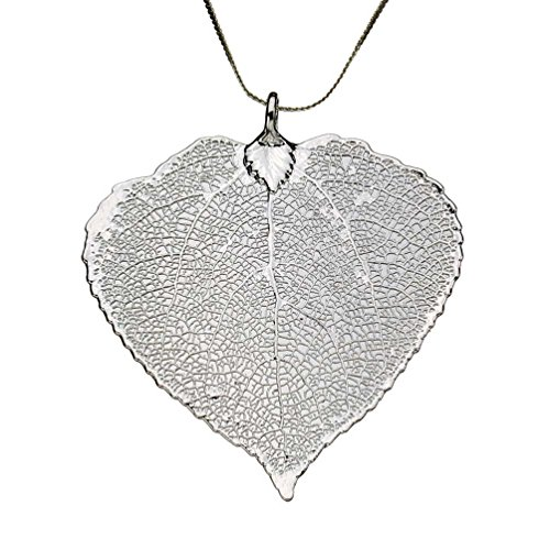 Silver Leaf Necklace (Silver-Plated Aspen Leaf Pendant Sterling Silver Serpentine Chain Necklace, 18
